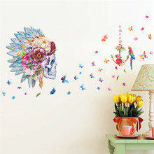 Skull flower head feather Butterfly Parrot Birds 3d wall stickers for bedroom living room vinyl pvc wall decal home decor &