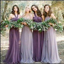 Top New Long Chiffon Bridesmaid Dress Different Styles Halter A-line Wedding Ceremony Gowns Pleat Purple Bridesmaid Dresses