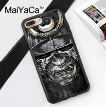 Hot Japan Samurai Mask Printed Soft TPU Skin Cell Phone Cases For iPhone 6 6S Plus 7 7 Plus 5 5S 5C SE 4 4S Back Cover Shell
