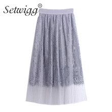 SETWIGG Summer Crochet Lace Tulle Layered Sweet Long Pleated Skirts Elastic Waist Band Pespective A-line Mid-calf Mesh Skirts