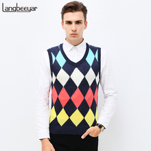 Fashion Diamond Pattern Knitted Vest Winter Mens Pullove Knitted Sweater Sleeveless V-Neck Casual Mens Sweaters And Pullovers