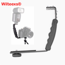 WILTEEXS Photography Video Flash Camera Grip L Bracket Holder With 2 Standard Side Hot Shoe Mount DSLR Holder BLACK(China)