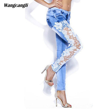 jeans women 2017 Stitching lace ladies Stretch cowboy Pencil pants white Leaves flowers hollow out Skinny Sexy legs wangcangli(China)