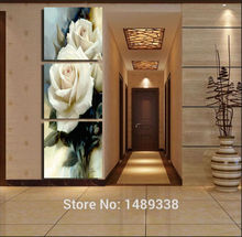 New 3 Panel Modern Painting Home Decorative Art Picture Paint on Canvas Prints picture White Rose with framed 3pcs/set F/33