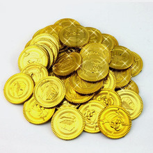 Gold Treasure Plastic Coins Captain Pirate Favors Party Coins Pretend Treasure Chest Kids Party Supplies Kids Toys 100 Pcs(China)