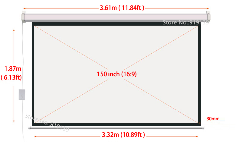 150 Inch 16 to 9 motorized screen dimension(1)