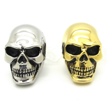 New Gift Huge Gold Silver Pig Nose Awesome Skull Ring Mens Boys Cool Punk Biker Stainless Steel Jewelry