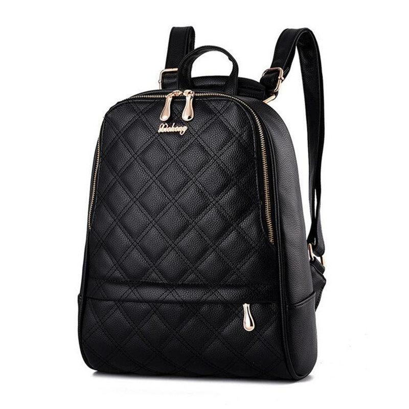 New Design Women PU Leather Backpacks School Bags Students Backpacks Diamond Lattice Ladies Womens Travel Bags Leather Package<br>