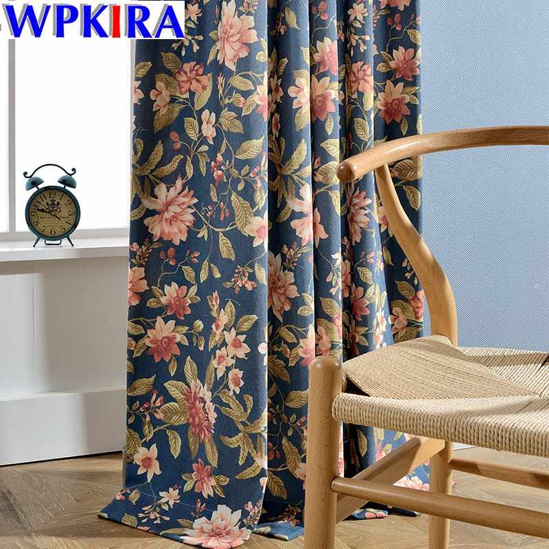 Luxury Blue Floral Printed Curtains For Living Room Semi Blackout Curtains For Bedroom White Tulle Sheer Drapery WP099-30