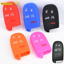 Silicone Key Cover Fit For Jeep Cherokee Renegade Dodge Journey Dart Durango Charger Chrysler 300c Fiat Freemont Remote Fob Case(China)
