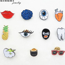 SINSHI New Fashion Pins Brooches For Women Animal Cat Mouth Mask Hear tooth Eyes Brain Fruits Patterns Jewelry Pins Girl Gif