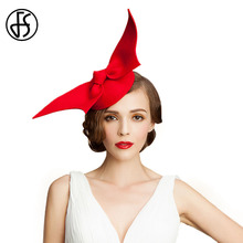 FS 100% Australian Wool Pillbox Hat Womens Lady Vintage Fashion Red Large Bowknot Felt Cocktail Party Wedding Derby Hats