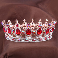 Hot European Designs royal king queen crown rhinestone tiara head jewelry quinceanera crown Wedding bride Tiaras Crowns Pageant(China)