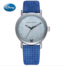 HOT Genuine Disney Children Pretty Mickey Mouse Cartoon Lovely Watch Best Fashion Casual Simple Quartz Round Leather Watches Boy(China)