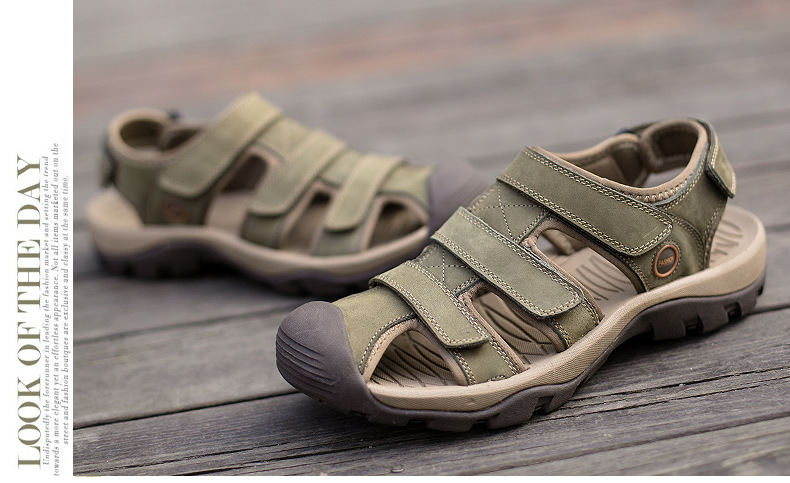 Summer Man Sandals Beach Shoes 2018 High Quality Genuine Leather Prevent Slippery Wear-resisting Outdoor Sandals Large Size 46 26 Online shopping Bangladesh