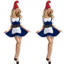2017 New Sexy Girls' Christmas Costumes Adult Christmas Clothes Beer Girl Costumes Apparel Blue Maid Game Uniforms Lady