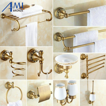 Antique Brushed Copper Carved Base Bathroom Accessories Bath Towel Shelf Towel Bar Paper Holder Cloth Hook BS02