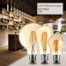 B22 E27 Vintage Edison Bulb LED Light Retro Filament 4W G95/ST58/A60 Globe Cage Pendant Lamp Bulbs 220V-240V 400LM - Soulmate Trading Co, Ltd Store store