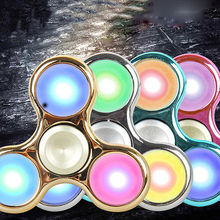 Pudcoco New LED light Fidget Hand Spinner Finger Toys EDC Focus Gyro For Autism ADHD