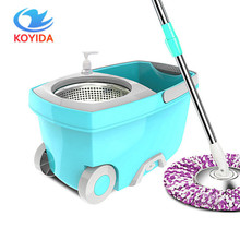 KOYIDA spin Mop bucket Portable Magic double drive Stainless steel hand pressure rotating with head household floor cleaning set(China)