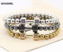 Hot Sale Men's Power Dumbbell Jewellry 6mm No Magnetic Hematite Beads with Alloy Metal Fitness Barbell Charm Bracelets