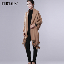 FURTALK Cashmere Wool Pashmina Cashmere Shawl Women Winter Long Warm Fur Scarf  Rex Rabbit Fur Pom Pom Pashmina