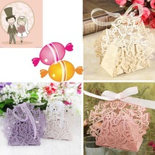 10PCS Wedding Party Sweet Favor Butterfly Paper Candy Gift Boxes With Ribbon Event Party Supplies
