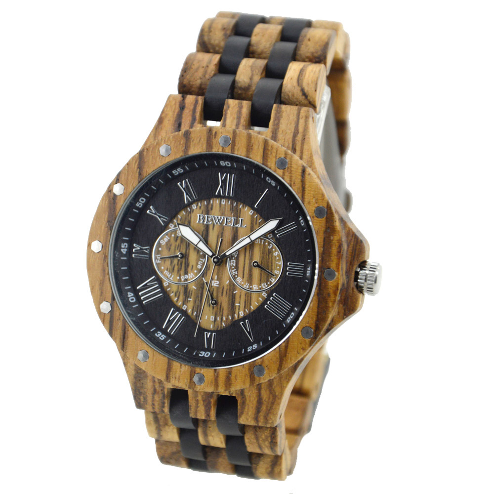 BEWELL 116C Men Wood Watch Quartz Sport Watches Three Eyes Brand Luxury Luminous Pointer Elegant ZS-W116C Male Wrist Clock<br>