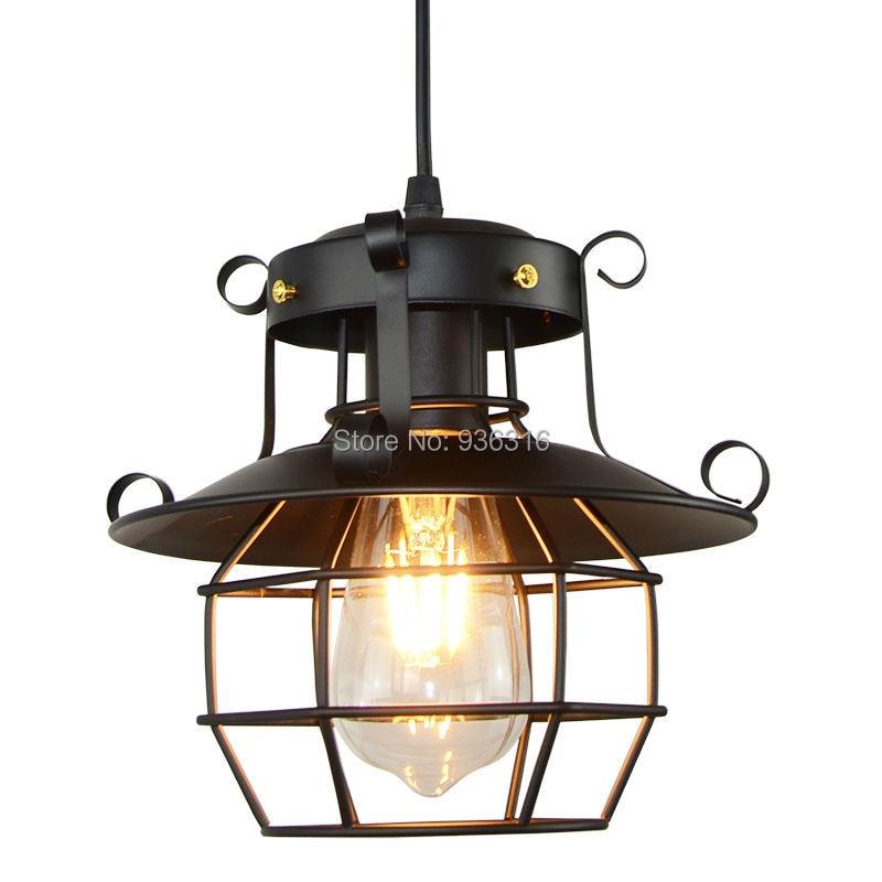 Antique Vintage Industrial Pendant Lights Loft Halling Metal Black E27 Edison LED Bulbs Lustres Pendant Lamp Fixture<br>