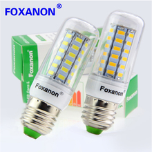 Foxanon Brand Smart IC Power E27 Led Light  5730 220V 24 36 48 56 69 72 81 89Leds Corn Bulb lampada led Lamps CE ROHS Lighting