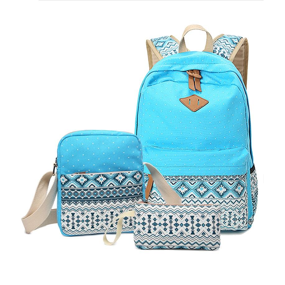 3pcs polka dot girls school backpack crossbody bags for women travel bags bookbag back pack blue ethnic bag kids pen pencil case<br>