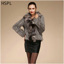 HSPL Free Shipping 2017 Genuine Fur Knitted Rabbit Fur Coat Fox Fur Collar Long Sleeve For Winter For Women