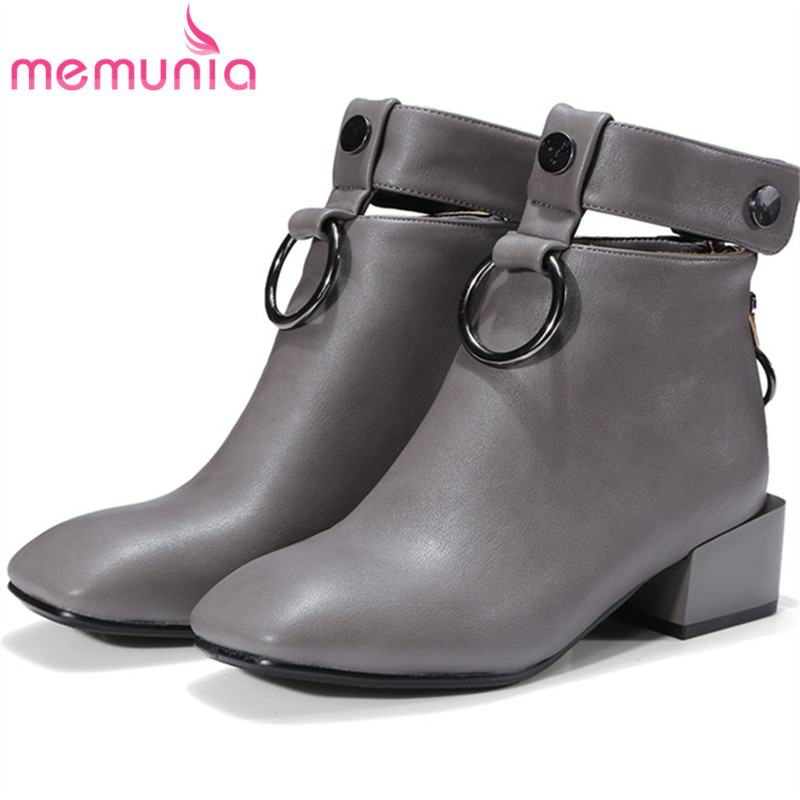 MEMUNIA Big size 34-42 ankle boots for women square toe zip solid PU fashion boots special spring autumn boots female<br>
