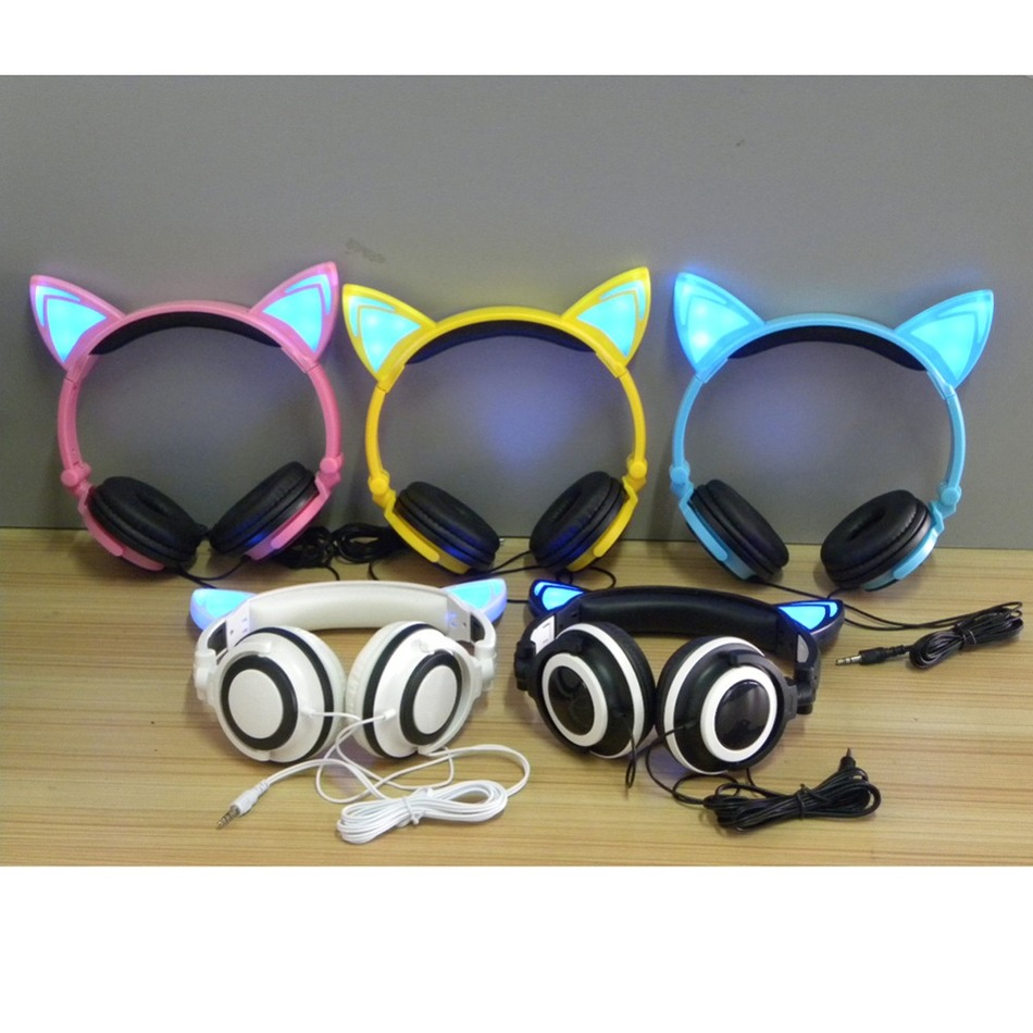 Fashional Flashing Glowing cat ear headphones Gaming Headset Earphone with LED light For PC Laptop Computer Mobile Phone<br><br>Aliexpress