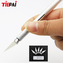 Tiepai Non-Slip Metal Wood Knife Scalpel Tools Cutter Engraving Craft Knives Sculpture Carving Knife DIY Hand Scalpe Tool Set(China)