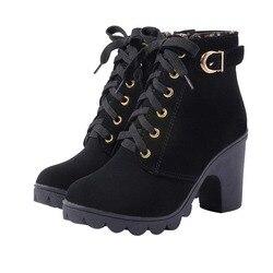 MCCKLE/женские ботильоны на платформе и высоком каблуке с пряжкой, короткие ботинки на толстом каблуке, женская повседневная обувь, Прямая пос...