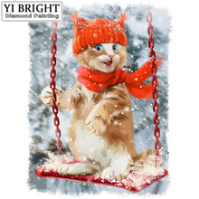 """winter cat To swing""DIY Diamond Painting Cross Stitch Mosaic Diamond Embroidery&Rhinestones Pattern Full Gift Resin YB(China)"