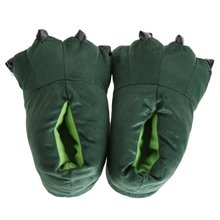 Unisex combined animal slippers Animal foot Mokomoko warm slipper room shoes Fluffy soft bottom Winter room wear shoes green, M(China)