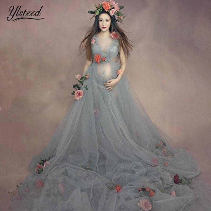 3pcs Set Maternity Photography Props Romantic Floral Mullet Dress Fairy Trailing Pregnancy Portrait Fancy Photo Shooting Dress<br>