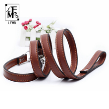 [LFMB]Brand Leather Dog Leash Pet Dog Collar Military Grade Leather Pinch Collars For Dogs Show Lead Leashes Pets Products(China)