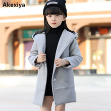 Akexiya Girls clothes Trench Coats Jackets For Clothing Tops Kids Windbreakers Spring jacket Autumn Outerwear wool dress coat(China)