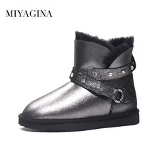 Top Quality New Fashion Genuine Sheepskin Leather Snow Boots Women Winter Real Wool Botas Mujer Natural Fur Warm Ankle Shoes