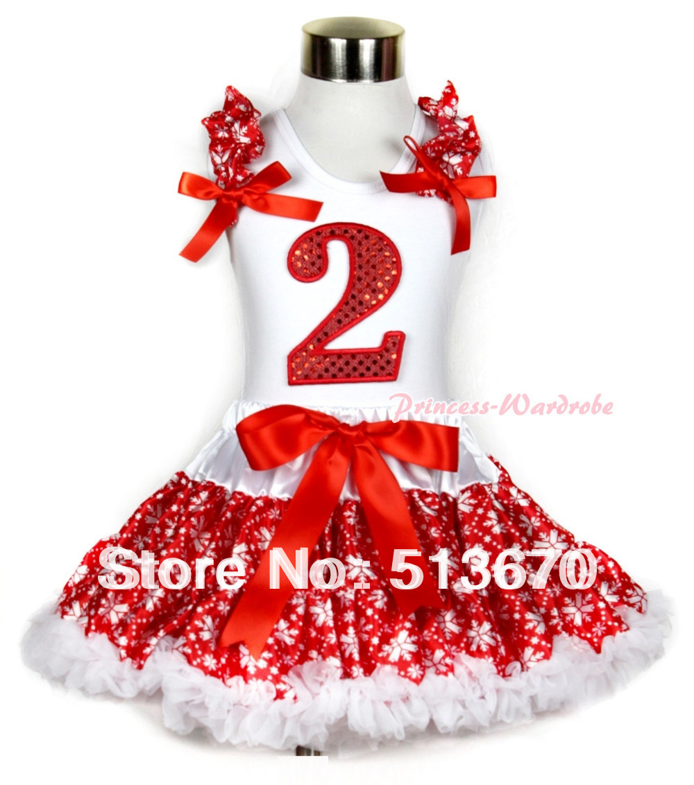 Xmas White Tank Top 2nd Sparkle Red Birthday Number with Red Snowflakes Ruffles &amp; Red Bow &amp; Red Snowflakes Pettiskirt MAMG726<br>