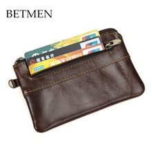 BETMEN Vintage Genuine Leather Men Coin Purse Small Cowhide Leather Pocket Wallet Designer Brand(China)