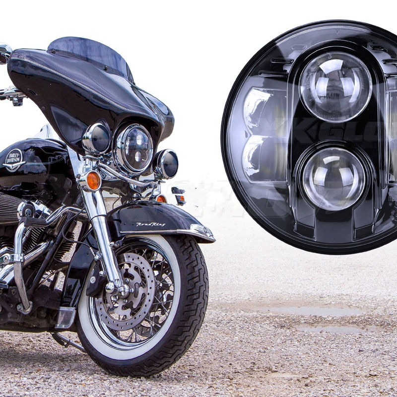 "DOT E9 Mark High Low Beam 7"" Black Chrome Lamp LED Harley Motorcycle HID Projector Headlight 7"" Motorcycle Led Driving Lights(China (Mainland))"