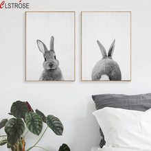 CLSTROSE Rabbit Tail Canvas Painting Nursery Wall Art Animal Poster And Print Nordic Bunny Picture For Kids Home Decor Unframed(China)