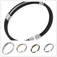 New Arrive Charming Gift 316L Stainless Steel Black Silver Gold Wire Cable Twisty Chain Mens Womens Bracelet Bangle High Quality(China)
