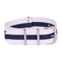 Ladies Women Nato 18 mm Army White Navy Nylon Military Fabric Woven Watch watchband Strap Band Buckle belt 18mm(China)