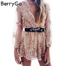 BerryGo Deep v sequin playsuit women Tassel short mesh bodysuit summer beach club elegant jumpsuit rompers embroidery leotard(China)
