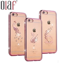 Olaf New 3D Flower bling 5s Case Crystal diamond Phone Shell back cover Peacock butterfly hard case For iphone 6 6s 6 7 Plus